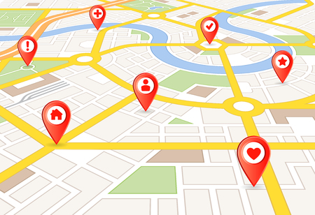 Vector Perspective city map with red markers and rounded icons Ilustração