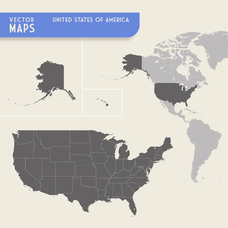 blue world map: Vector map of the United States of america with also a minimap of the whole North and South America continents, with highlighted USA