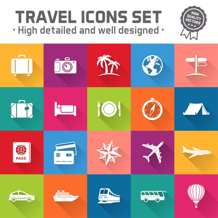 plate camera: Collection of twenty multicolored high quality icons set for travel ant tourism Illustration