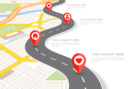 route map: Vector Infographic with a tortuous road separating blank space from a Perspective city map with red markers and rounded icons. Illustration