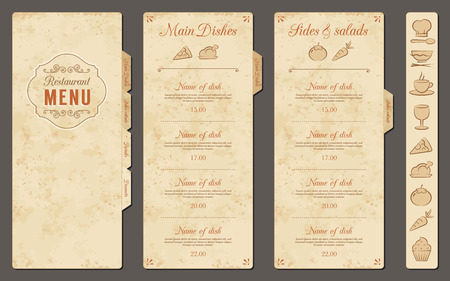 menu: A Classic Restaurant Menu Template with nice food Icons in an Elegant Style on a vintage grunge background