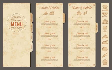 menu de postres: Un restaurante clásico de plantillas de menú con bonitos iconos de alimentos en un estilo elegante en un fondo del grunge del vintage