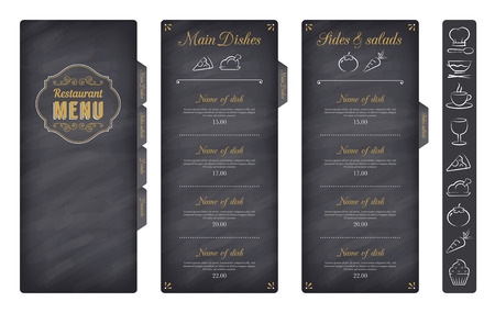 commercial kitchen: A Classic Restaurant Menu Template with nice food Icons in an Elegant Style on a Chalckboard like background