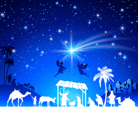 High detail Vector nativity Christmas Scene silhouettes illustration with kings adoration group