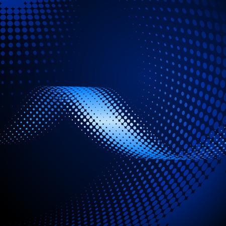 Dark blue Halftone wave effect, with halftone background Illustration