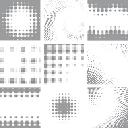 grey backgrounds: Collection of nine white and grey halftone shapes Illustration