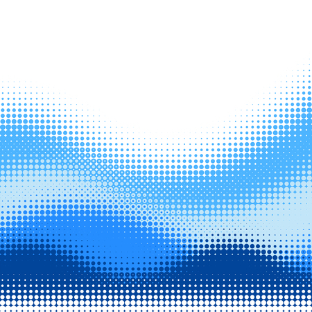 Multiple blue Halftone wave vector background, with upper white copy space