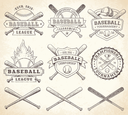 bat and ball: Collection of vector illustrations of Baseball team and competition logos and insignias, in grunge Vintage style