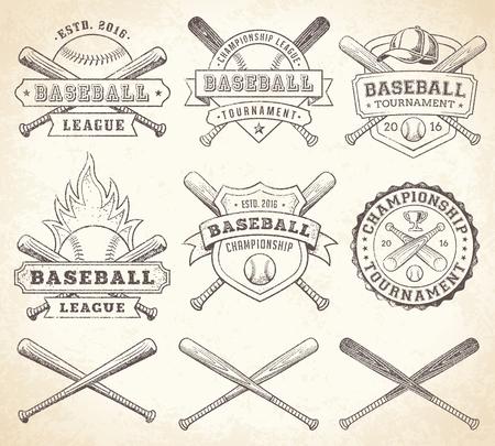 Raccolta di illustrazioni vettoriali di squadra e della concorrenza loghi e insegne di baseball, in stile grunge Vintage Archivio Fotografico - 48061502