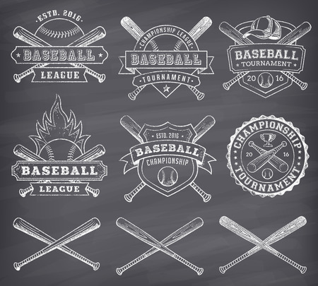 american vintage: Collection of vector illustrations of Baseball team and competition logos and insignias, in grunge style over a blackboard background. Illustration