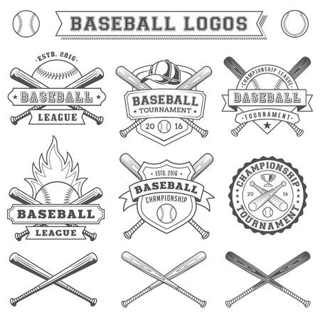 beisbol: Negro y blanca del béisbol del vector logotipo y escarapelas