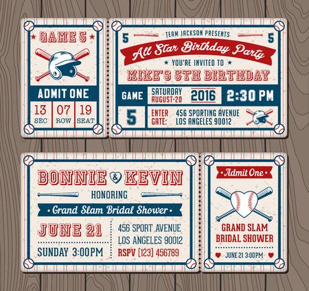 cobranza: ilustraciones vectoriales para billetes de invitación para béisbol y softball eventos temáticos