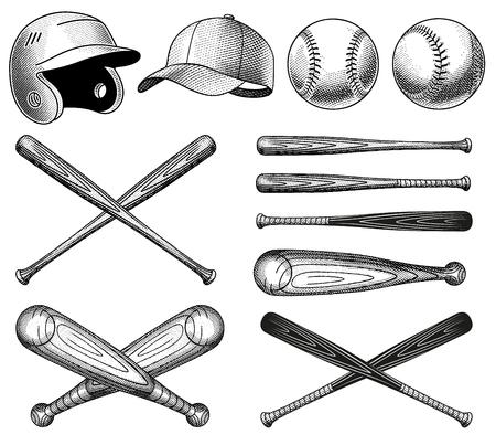 headgear: Vector Vintage Baseball Equipment illustrations, with bats, balls and headgear.