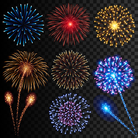 Collection of high detail vector illustrations of colorful realistic fireworks