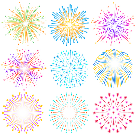 multicolored: Vector multicolored with vibrant colors Fireworks Illustrations set