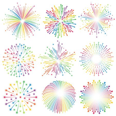 holiday lights display: Vector multicolored with rainbow colors Fireworks Illustrations set
