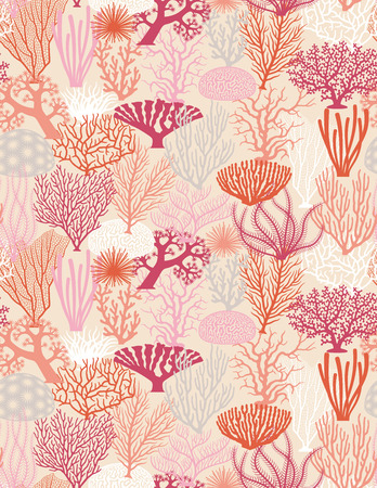coral colored: Seamless texture of various coral formations vector illistrations