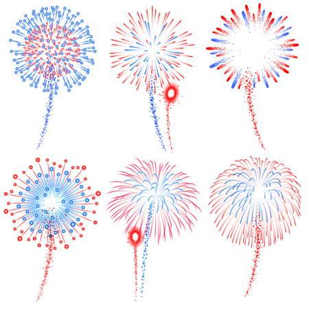 displays: Vector Red and Blue Fireworks Displays Illustrations set