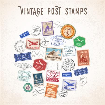 유명한 기념물과 여행 우표와 우편 스탬프의 조성의 벡터 일러스트 레이 션.