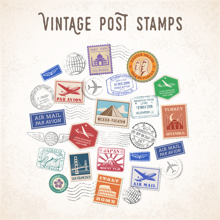 stamp: Vector illustration of a Composition of Travel stamps and mail stamps with famous monuments.