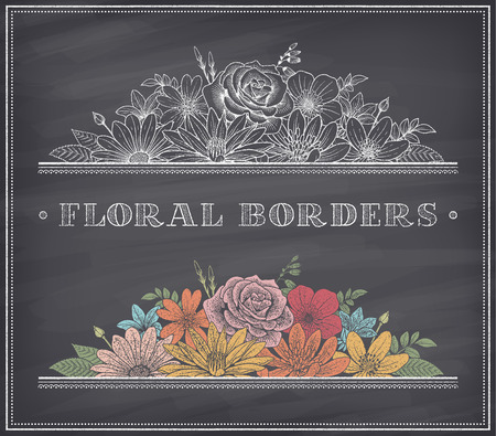 vintage banner: border decoration composed of detailed colorful flowers illustrations with chalk drawing effect on a nice shaded blackboard