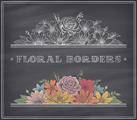 Frontera de la decoración compone de ilustraciones detalladas flores de colores con efecto de dibujo con tiza en una pizarra agradable sombra