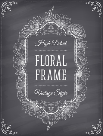 frame decoration composed of detailed flowers illustrations with chalk drawing effect on a nice shaded blackboard