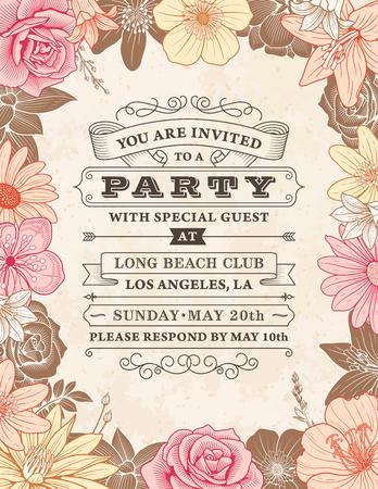 plantilla de invitación de boda con un marco compuesto por ilustraciones detalladas de flores de color rosa y naranja Ilustración de vector