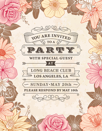 Wedding Invitation Template With A Frame Composed Of Detailed Pink And  Orange Flowers Illustrations Illustration  Free Printable Engagement Party Invitations Templates