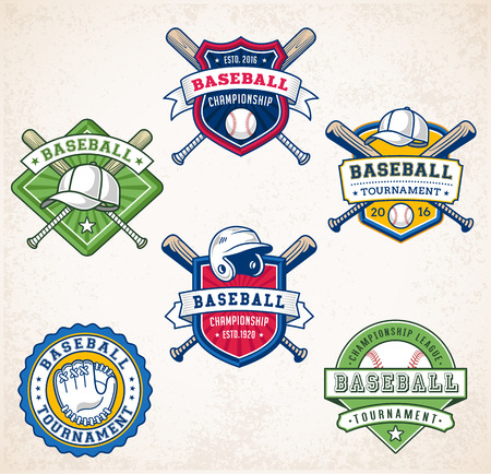insignias: Collection of six colorful Vector Baseball logo and insignias