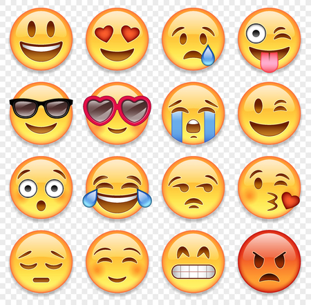 Set of high quality vector cartoonish emoticons.