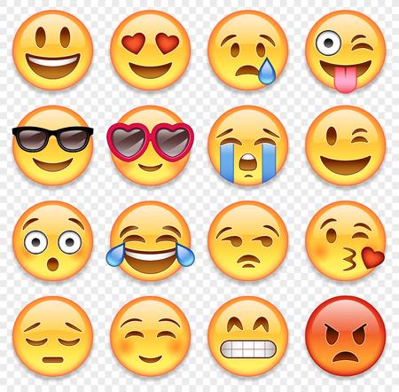 Conjunto de vectores emoticones dibujos animados de alta calidad. Ilustración de vector