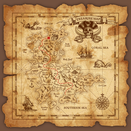 Vector super detailed Pirate Treasure map on a ruined old Parchment. All elements are organized with layers.