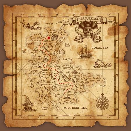 Vector muy detallado mapa del tesoro del pirata en un pergamino viejo en ruinas. Todos los elementos están organizados con capas.