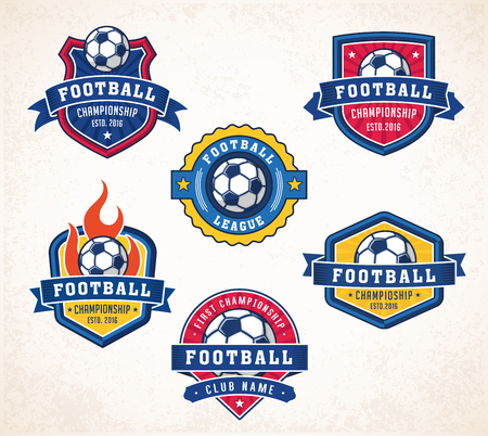 Collection of six colorful football or soccer icon Illustration