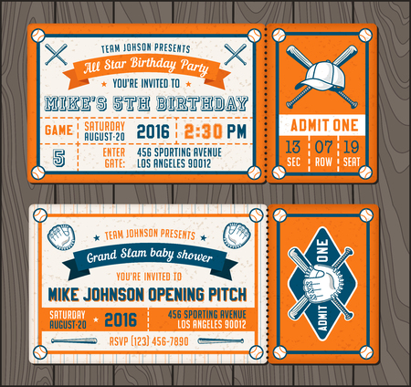 illustrations for Invitation tickets for Baseball and softball themed events