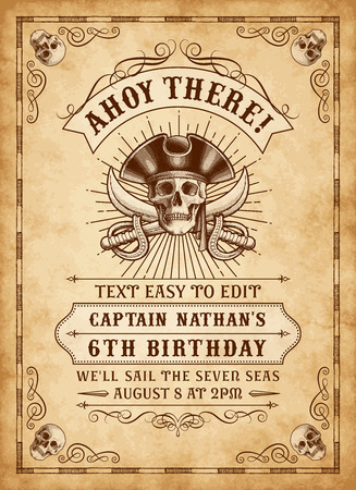 playbill: Vintage Looking Invite Template for a Party or Event with Death or Pirate Theme
