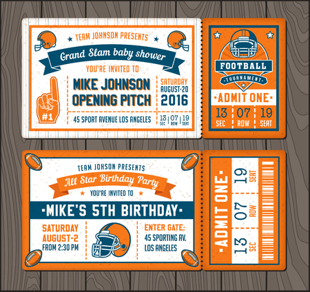 illustrations for Invitation tickets for Football themed events