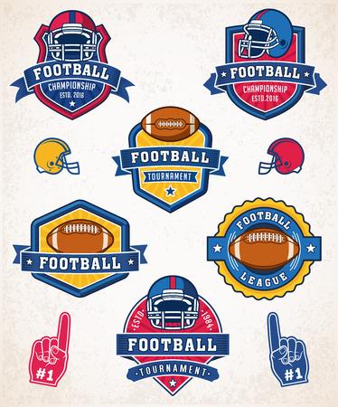 bannière football: Collection de six football et insignes américain coloré