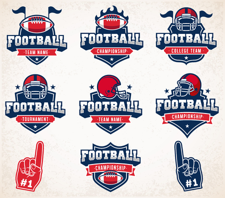 american football helmet: Collection of White, Red and Blue Football and insignias