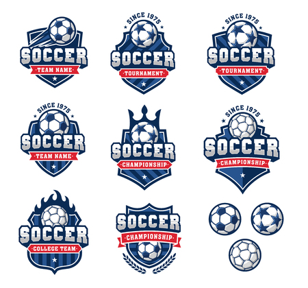 Collection of eight Red and Blue football or soccer and insignias