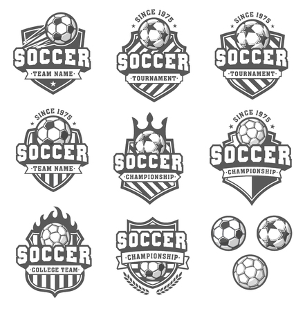Collection of eight Greyscale football or soccer and insignias Vektorové ilustrace