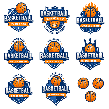 Collection of eight colorful Basketball  and insignias