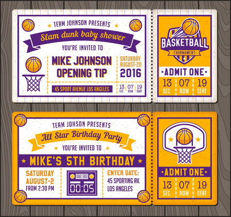 Colorful Template Tickets for Basketball theme Party Invites Vettoriali