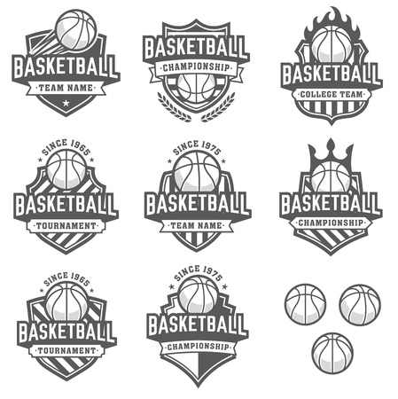 Collection of eight greyscale Basketball and insignias Illustration