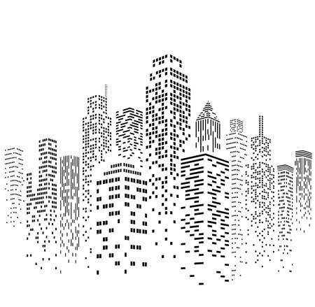 Vector illustration of black and white skyscrapers, with white buildings and black windows. All windows shapes are present so you can easily edit window colors.