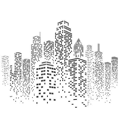 Vector ilustracji czarno-białych wieżowców, z białymi i czarnymi oknami budynków. Wszystkie okna są obecne kształty, dzięki czemu można łatwo zmieniać kolory okien.