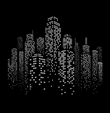 Vector illustration of black and white skyscrapers, with black buildings and white windows. All windows shapes are present so you can easily edit window colors.