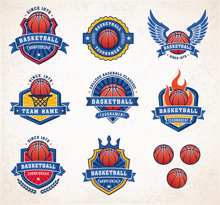 basketballs: Collection of eight colorful Vector Basketball icon and insignias