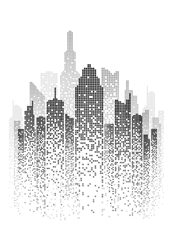 Vector illustration of black and white skyscrapers, with white buildings and black windows.
